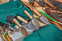 Truffle spades. Truffle shovels or spades on sale at an open air market in Aragon, Spain Stock Photos