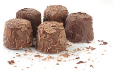 Truffles. Fancy chocolate truffles, on white surface Stock Photos