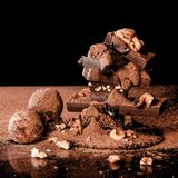 Truffles and chocolate with nuts. royalty free stock images
