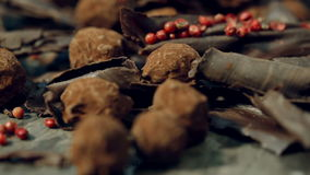 Truffles in dark chocolate with red pepper and chocolate chips. Extremely close up panoramic shot of Composition with truffles in cocoa dust with red pepper and stock video footage