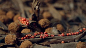Truffles in dark chocolate with red pepper and chocolate chips. Extremely close up panoramic shot of Composition with truffles in cocoa dust with red pepper and stock footage