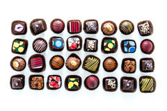 Truffles. Delicious gourmet chocolate truffles hand made by professional chocolatier stock photo