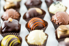Truffles. Delicious gourmet chocolate truffles hand made by professional chocolatier stock photography