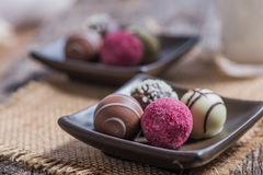 Truffles in rustic setting Royalty Free Stock Photos
