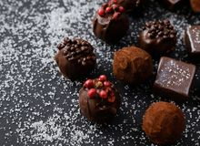 Truffles on sugary background. Truffles on sugary black background Stock Photography