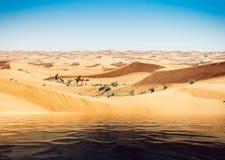 Trugbild des Wassers in der arabischen Wüste Kamele im Hintergrund lizenzfreie stockfotografie
