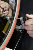 Truing a bicycle wheel Stock Image