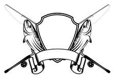 Truite et palans de pêche croisés illustration de vecteur
