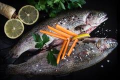 Truite fraîche avec des épices, des herbes, le citron et le sel de mer Photographie stock libre de droits