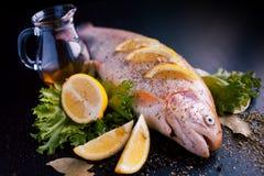 Truite fraîche et ingrédients pour préparer des plats de poisson sur la table noire Images libres de droits