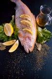 Truite fraîche et ingrédients pour préparer des plats de poisson sur la table noire, avec des épices et des cales de citron, vue  Image stock