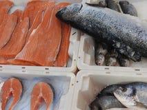 Truite saumonée et dorade frais sur la glace propager le marché, fin  photos stock