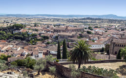 Trujillo. Aerial view of the Spanish town of Trujillo, are houses and trees, the fields are in the background on a sunny day Royalty Free Stock Image