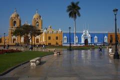 Trujillo. Colourful colonial style buildings surrounding the Plaza de Armas in Trujillo, Peru Royalty Free Stock Image