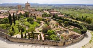 Trujillo Extremedura Spain. Wide view of the Church of the Santa María la Mayor and gardens in the historic town of Trujillo in Extremadura, Spain Royalty Free Stock Photos
