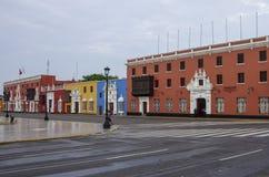 Trujillo, Peru - 11. Januar 2014: Bunte Kolonialhäuser herein Stockbilder