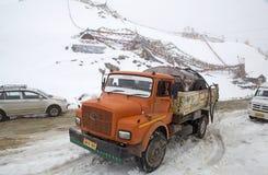 Truck at the Khardung La Pass, Ladakh, India Royalty Free Stock Photography