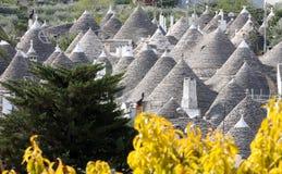 Trulli in Alberobello, Italy. Alberobello is a small town and comune in the Italian province of Bari in Puglia and is famous for its unique trulli constructions Stock Photo