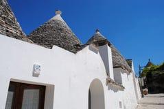 Trulli of Alberobello. Alberobello is a small town and comune in the province of Bari, in Puglia, Italy. It's famous for its unique trulli constructions. The Stock Image