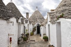 Trulli of Alberobello, a UNESCO World Heritage Site. Pictured are the Trulli of Alberobello, a small town and comune of the Metropolitan City of Bari, Apulia stock images