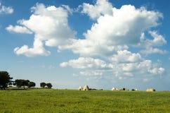 Trulli auf landwirtschaftlicher Apulian-Küste lizenzfreie stockbilder