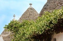Trulli contiene los tejados en Alberobello, Italia Fotografía de archivo libre de regalías