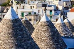 Trulli-Dächer in Alberobello, Italien Stockfotografie