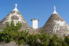 Trulli-Häuser in Alberobello, Italien Stockfotos