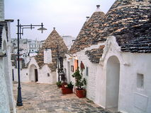 Trulli  Houses- Alberobello. Limestone dwellings with dome romm - typical of southern Puglia - Italy Royalty Free Stock Photo