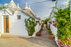 The Trulli houses of Alberobello in Apulia in Italy. The Trulli of Alberobello in Apulia in Italy. These typical houses with dry stone walls and conical roofs Stock Photos