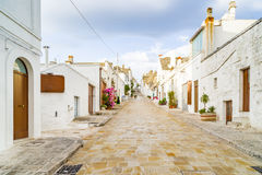 The Trulli houses of Alberobello in Apulia in Italy. The Trulli of Alberobello in Apulia in Italy. These typical houses with dry stone walls and conical roofs royalty free stock photos