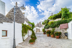 The Trulli houses of Alberobello in Apulia in Italy. The Trulli of Alberobello in Apulia in Italy. These typical houses with dry stone walls and conical roofs royalty free stock image