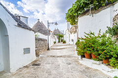 The Trulli houses of Alberobello in Apulia in Italy. The Trulli of Alberobello in Apulia in Italy. These typical houses with dry stone walls and conical roofs royalty free stock photo