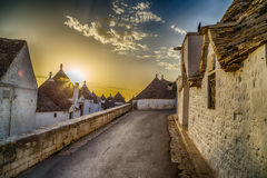 The Trulli houses of Alberobello in Apulia in Italy. The Trulli of Alberobello in Apulia in Italy. These typical houses with dry stone walls and conical roofs royalty free stock images