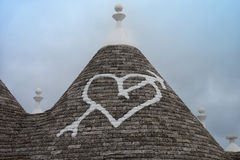 Trulli Roof with Heart Stock Images