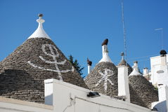 Trulli Roofs with Symbols Stock Image