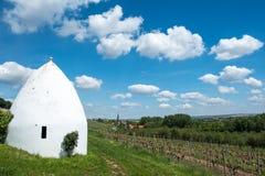 Trullo或圆的房子在弗隆海姆, Rheinhessen,莱茵河流域Pfalz,德国 库存图片