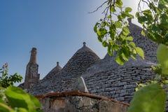 Trullo, dyskusyjni domy Puglia Włochy Zdjęcia Stock