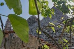 Trullo, dyskusyjni domy Puglia Włochy Zdjęcia Royalty Free