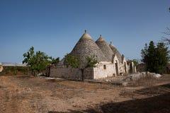 Trullo, dyskusyjni domy Puglia Włochy Fotografia Royalty Free