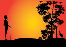 Truly Australian taropical scene. Australian Sunset with kangaroos and one hunting aboriginal man vector illustration