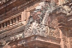 Truly a Corner Stone. Each Temple at Angkor has its own uniqueness and signature. But Bantaey Srei in its Pink attire of Sandstone is truly most especial. Every Stock Photos