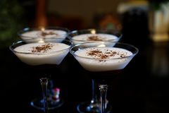 Chocolate martinis are dessert and drinks in one glass stock images
