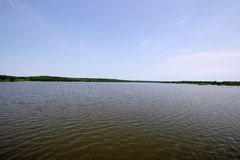 Truman lake flood. Photo of the historical flood with water still rising on Truman lake near Warasaw Missouri, June 2019 stock images