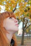 Träumerisches rotes Haarmädchengesicht mit Sommersprossen gegen rote Herbst Folia Stockfotografie