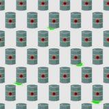 Trumma av radioaktivt, förlorad sömlös modell för kemikalie Vektor b vektor illustrationer