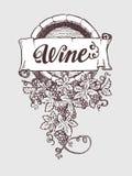 Trumma för vin- och winemakingtappningvektor stock illustrationer