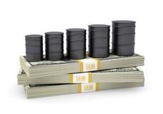 Trummaoljaställning på packe av dollar Royaltyfri Bild