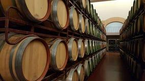 Trummor av vin i källare Royaltyfri Fotografi