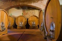 trummor förvara i källare gammal wine Tuscany Itally Royaltyfri Fotografi